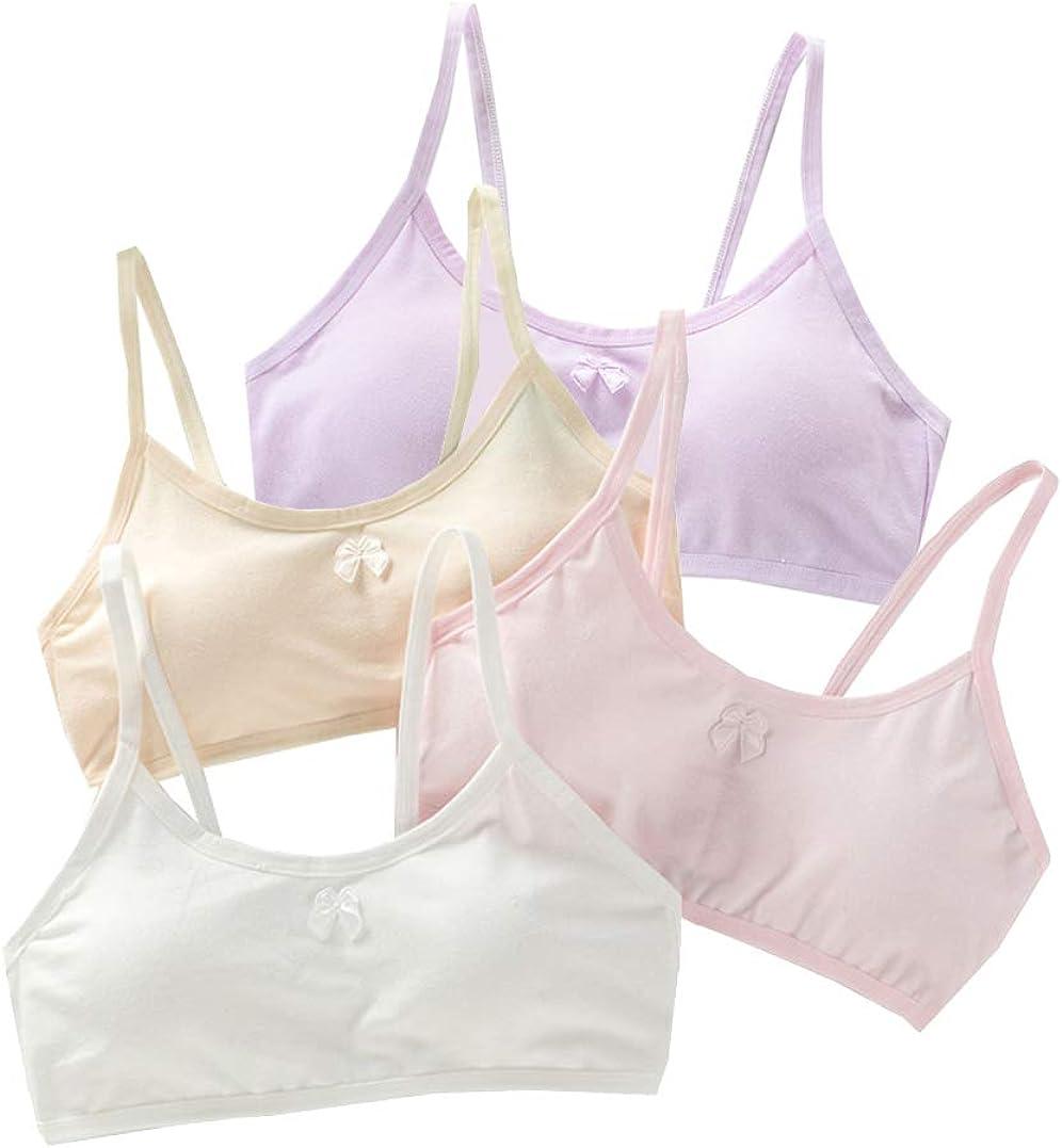 Age 8-14 Budding Girls Lace Training Bra Beginner Bralette Non Pads Cotton Crop Tops 4 Piece