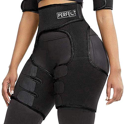 PERFECT BODY Best Waist Trainer for Women, Butt Lifter, Hips and Thigh Trimmers, Fat Burner, Weight Loss Training Eraser shapeware, Booty Belt (Black, Large/XLarge)