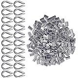 Clips de Mangas De Aluminio 200 Piezas para Cuerda de Alambre Diámetros de Cable de 2 Mm Aparejos de Cable de Virolas Dobles de Aluminio 20 Piezas M2 304 Dedal de Acero Inoxidable (Tono Plateado)