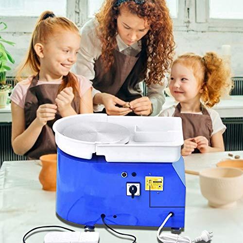 InLoveArts Los 25CM MInLoveArts Los 25CM Máquina formadora de ruedas de cerámica eléctrica con Pedal independiente Máquina de bricolaje para trabajos de cerámica Clay Art Craft 350W Azul