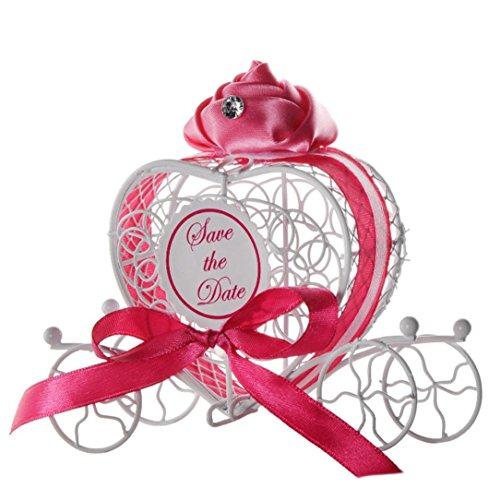 Boîte à Bonbon Metal,Rameng Boîte à Dragée Mariage Cadeaux Boîtes Faveur (rose vif)