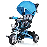 Deuba Triciclo con Asiento Giratorio Azul 2en1 Coche para bebés niños hast 30Kg Adaptable cinturón