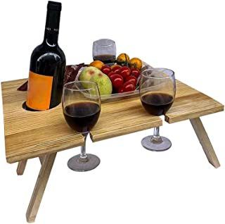 D DOLITY Folding Portable Picnic Table, Outdoor Fold Up Lightweight Camping Camp Table Rustic Wooden Wine Picnic Table for...