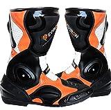 Motorrad Schwarz Orange Schutz Stiefel