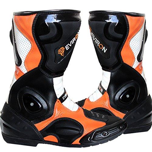 Motorrad Schwarz Orange Schutz Stiefel, Schwarz / Orange, 44 EU