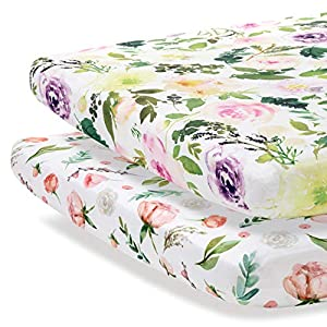 crib bedding and baby bedding pobibaby - 2 pack premium pack n play sheets fitted for standard pack and plays and mini cribs - ultra-soft cotton blend, stylish floral pattern, safe and snug for baby (allure)