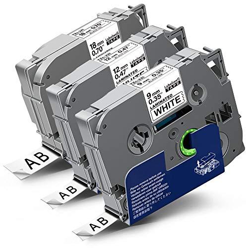 3x Labelwell 9mm/12mm/18mm x 8m Compatibile per Brother Tz TZe-221 TZe-231 TZe-241 Nastro Tape Nero su Bianco con Brother P-Touch CUBE PLUS PT-P710BT PT-D450VP PT-2730VP PT-1890 PT-D600VP PT-P750W