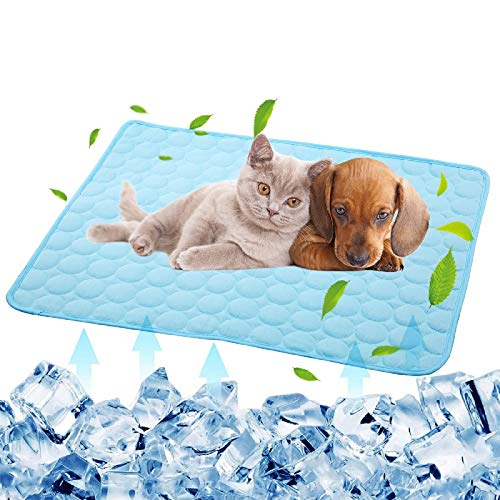 Cooling Mat for Large Dogs Cats Pet Washable Summer Cooling Pads Summer Sleeping Kennel Mat,Ice Silk Sleep Mat Pad Non-Toxic Sleep Bed Animal(XL 70x100cm, Light Blue)