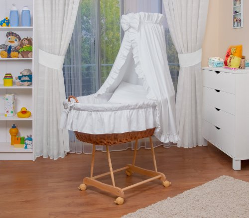 WALDIN Landau/berceau pour bébé complet,24 modèles disponibles,couleur du tissu blanc, Cadre/Roues non traitée