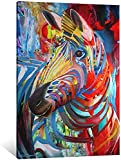 MPY-SEA Lienzo abstracto de graffiti de cebra, arte abstracto en la pared, póster de arte callejero con animales coloridos para habitación infantil (8,40 x 61 cm = 16 x 24 pulgadas con marco)