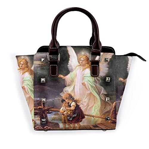 BROWCIN Schutzengel mit Kindern auf der Brücke Abnehmbare mode trend damen handtasche umhängetasche umhängetasche