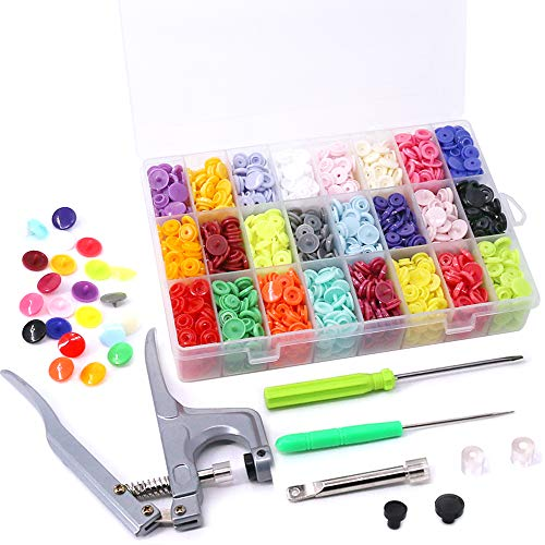 Hight Quality 384Pcs 24 Colors Plastic T5 Snap Buttons with Snaps Pliers Set, Plastic Snaps Hand Tool Snaps Fastener Perfect for Clothes, Cloth Diapers with Organizer Storage Containers