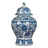 Jarrones para decoracin Antiqu Vintage Macetero Jarrn antiguo de porcelana, florero de cermica azul y blanco Jarrn de templo Jarrn hecho a mano Estilo China Ming para decoracin del hogar Sala d