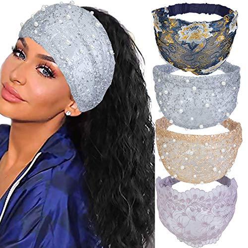 Xiang Ru Pack de 4 bandas elásticas para el cabello vintage bohemia para las niñas, con encaje floral bordado, turbante, yoga, viaje, bandeau