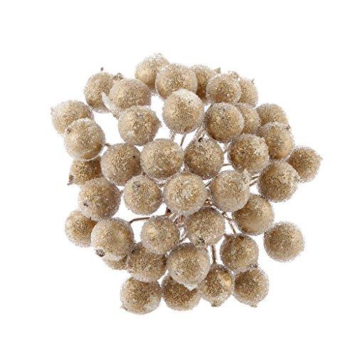 200 pezzi Mini decorazione di Natale Frutti di bosco artificiali gold