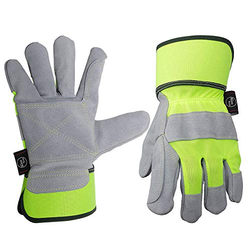Leather Work Gloves,Perfect for Yard work, Gardening, Construction, Warehouse, Heavy Duty Working, Motorcycle, Men&Women XL