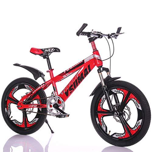 YAOXI Mountainbike Fahrrad Mit Gabelfederung Stoßdämpfung 21 Gang Rutschfester Griff Doppelscheibenbremse Bremssystem Kinderfahrrad Jungen-Mädchen MTB,Black/red,24Inch
