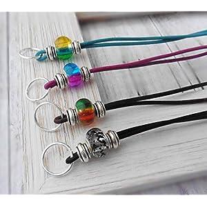 Wechselkette echtes Leder Glasperle XL Farbwahl Farbverlauf Handmade Länge verstellbar Großlochperle
