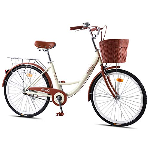 CStern Adult Commuter Retro Work Bike with Basket Cruiser Bikes with Wear-Resistant Tires Beige 24...