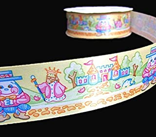 5 Yds Baby Nursery Rhymes Humpty Dumpty Storybook Satin Ribbon Lace Trim Embroidery Applique Fabric Delicate DIY Art Craft Supply for Scrapbooking Gift Wrapping 1 1/2