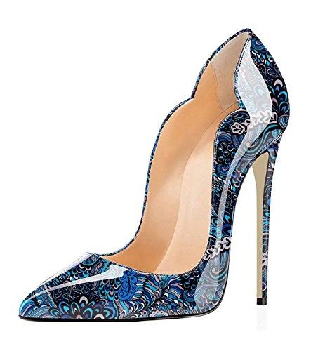 EDEFS Damen Lack Pumps Spitze Zehen Sexy High Heels Übergröße Schuhe Blue EU39