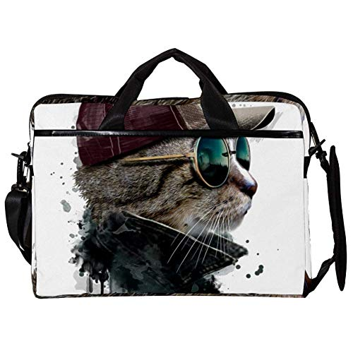 Laptoptasche Katze mit Brille und Kappe 38,1 cm (15 Zoll) Business Computer Laptop Sleeve Umhängetasche Messenger Bag Tablet Tragetasche für Damen und Herren