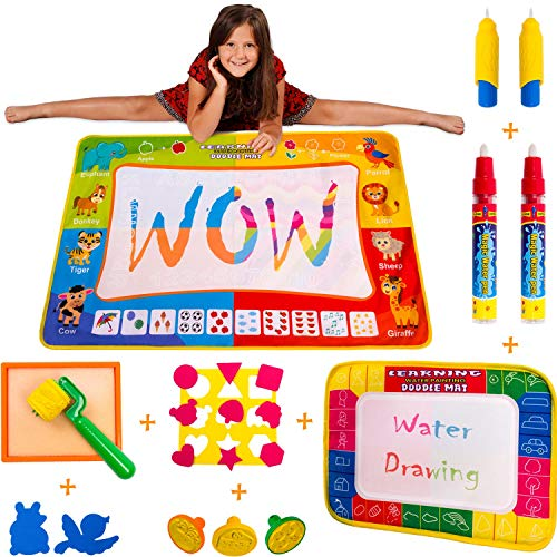 Wow Four Design Aqua Magic Doodle Mat Extra Large Water Drawing Painting Coloring Mat - Educational Toys Gifts for Kids Toddlers Girls Boys Age 2 3 4 5 6 Year Old