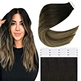 Easyouth Invisible Tape in Hair Extensions 18 Inches Color 1BT6P27 Off Black Fading to Chestnut Brown Mix Honey Blonde Gule on Hair Extensions 40g 20Pcs