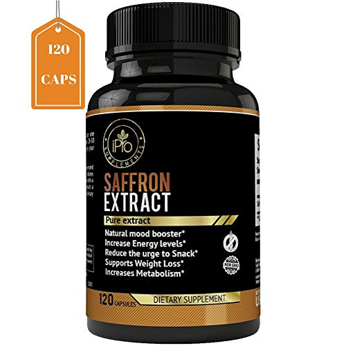 iPro Supplements Pure Saffron Extract - 120 Capsules for Eye Health Depression All Natural Pills Appetite Suppressant Weight Loss Boost Metabolism Macular Degeneration Mood Energy Booster