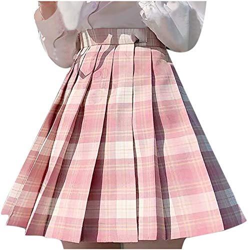 Falda elegante para mujer, minicampanillas, falda plisada, falda corta para fiestas, nias, cintura alta X-rosa. 38