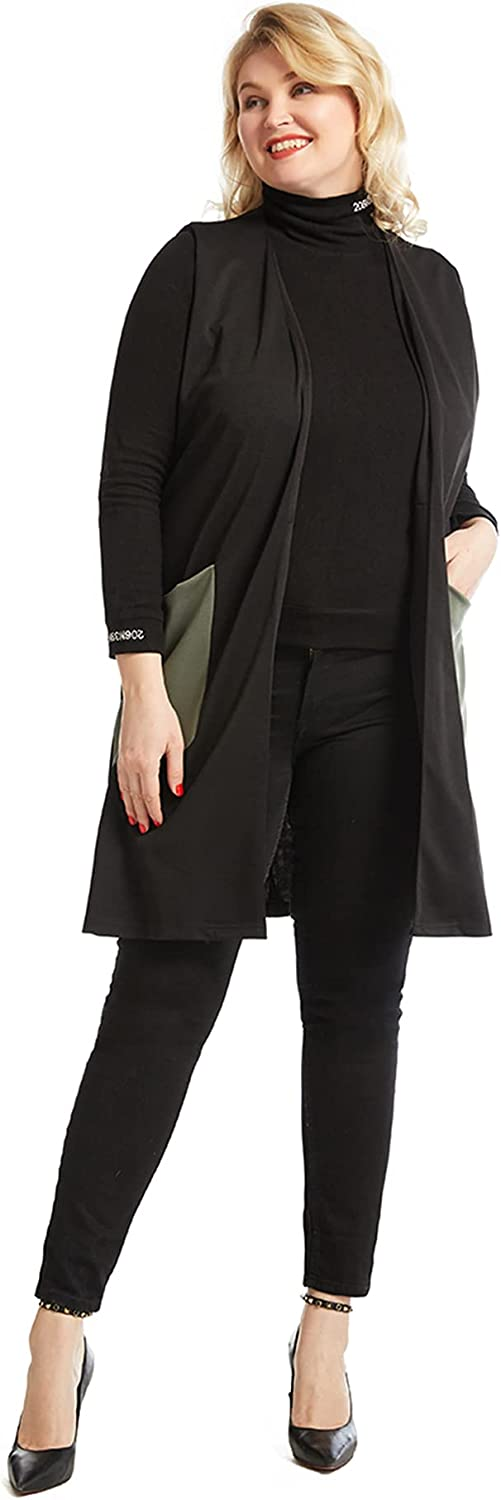 GladThink Women Loosely mid-length Fashion Vest Black XL