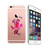 iPhone 6 plus / 6s plus, DECO FAIRY Art Paint Splash Ultra Slim Translucent Silicone Clear Case Gel Cover (happy pink dancing babe )