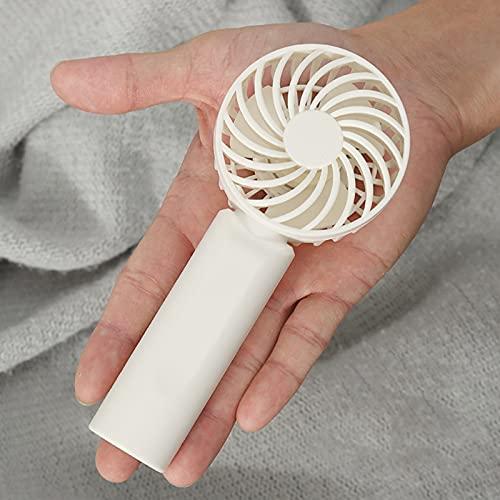 Ventilador eléctrico portátil Handheld Mini Mini Fan USB Recargable Ventilador portátil Refrigerador con Soporte de teléfono Ajustable 3 Velocidad para Oficina Viaje al Aire Libre (Color : White)