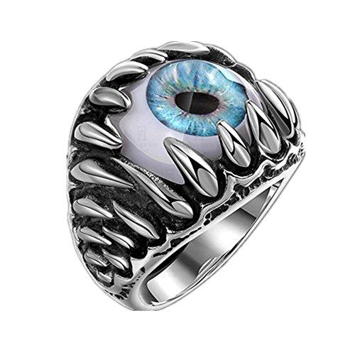 316L acero inoxidable Anillo de dedo gótico punk calavera dragón garra mal DIABLO ojo antiquerings con Super Cool garras y colmillos azul para los hombres