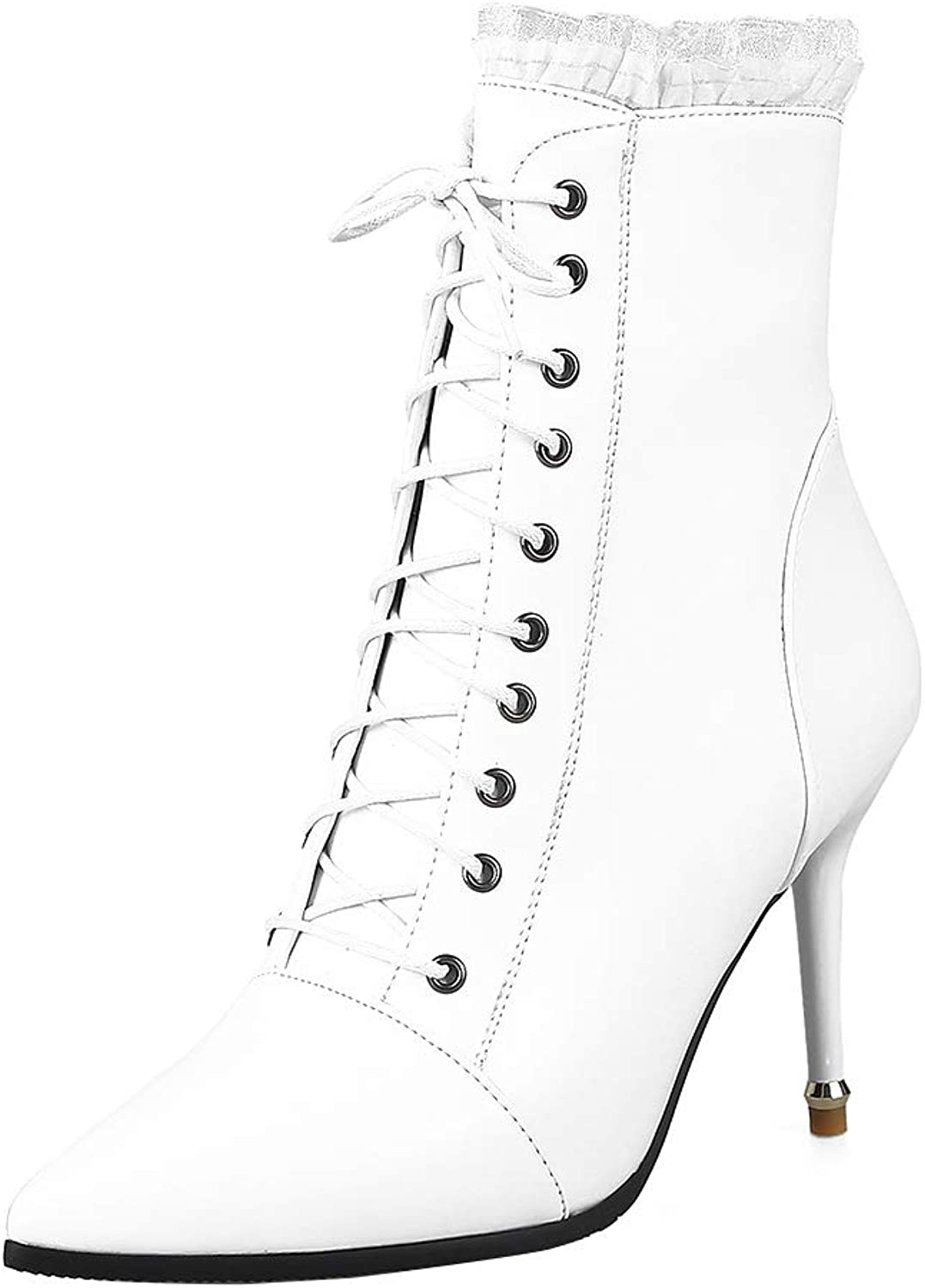 MAYPIE Women's Fashion Pointed Toe Stiletto Booties High Heel Zipper Mid Calf Boots with Lace