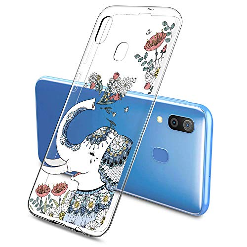 Suhctup Compatibile per Samsung Galaxy J1Mini / J105, Cover Silicone Trasparente Morbido Slim TPU Protettiva Custodia, Cute Cartoon Disegni Crystal Full Body Antiurto Case - Elefante 2