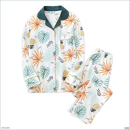 Huanhog Baumwoll-Strick Pyjama Set for Frauen Frühling aus Reiner Baumwolle Pyjama...