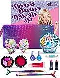Purple Ladybug Kit de Maquillaje para Niñas Estilo Sirena - Set de Maquillaje de Niña Seguro y Lavable con Neceser de Maquillaje, Pintalabios, Coloretes, Sombras, Brochas con Cola de Sirena, y Más