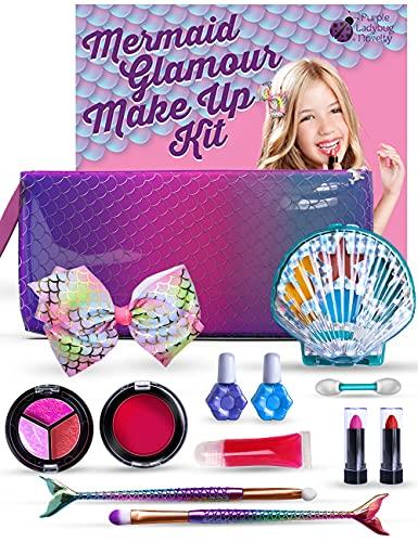 Purple Ladybug Mermaid Makeup Kit for Little Girls - Safe & Washable Make up Set for Kids & Tweens - Great Mermaid Themed Birthday Gift Idea for Girl - Includes a Cool Wristlet, Lipstick, Blush & Mor
