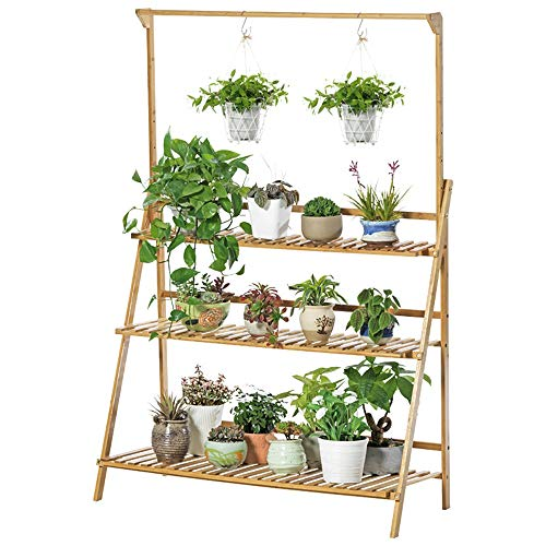MELLRO Flower Stand Wood Shelf Multipurpose Utility Storage Rack Books Picture Frames Shelves 3-Tier Foldable Flower Rack Plant Stand Indoor Outdoor Home Decoration (Color : Wood, Size : 100x40x96cm)