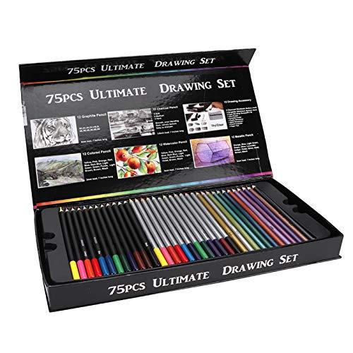 Seguro, no tóxico y ecológico 75 piezas Lápiz de color de dibujo profesional para bocetos, para libros de colorear Dibujo Sombreado de bocetos