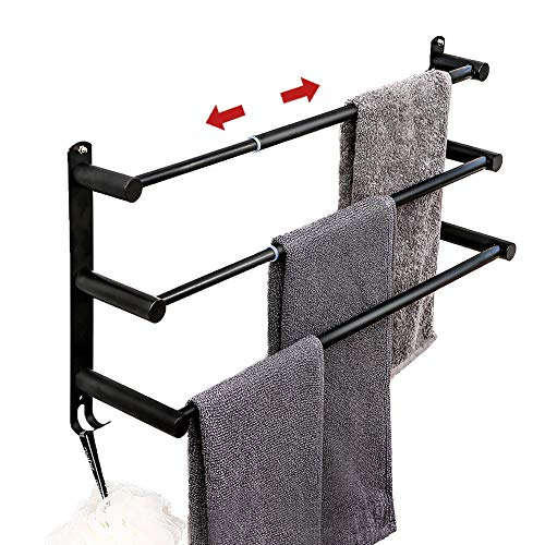 Towel Bars Freely Retractable 20-30 Inche Stainless Steel 304 Bath Towel Rack Strong 3M Adhesive Bathroom Wall-mounting Free mounting Hole-Installing washroom Kitchen Space Saving Black-3 Bars