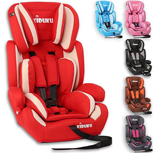 KIDUKU® Autokindersitz Kindersitz Kinderautositz, Sitzschale, universal, zugelassen nach ECE R44/04, in 6 verschiedenen Farben, 9 kg - 36 kg 1-12 Jahre, Gruppe 1/2 / 3 (Rot/Weiß)