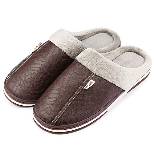 Men's Leather Slippers Non Slip Sturdy Sole House Shoes Fur Memory Foam Warm Indoor & Outdoor (Small/5-6 D(M) US, Brown)