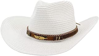 Lady's Sun hat Summer Husk Westerly Cowboy Hat Women Man Outdoor Beach Hat Sunscreen Metal Leaf Decoration Sun Hat Sun hat (Color : White, Size : 56-58CM)