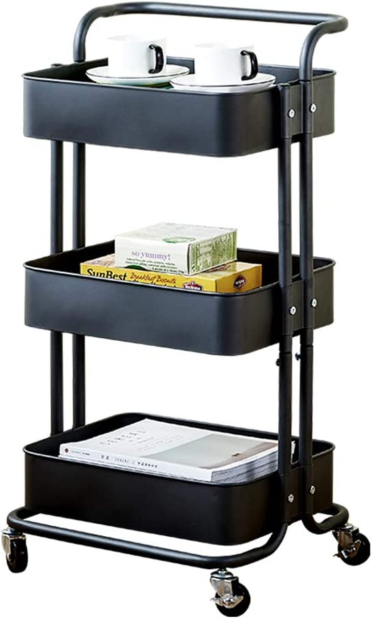 Kitchen shelf Max 82% OFF HUO 3-Layer Service 25% OFF Handle Trolley Mesh Roll Metal