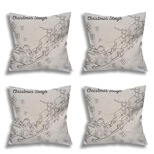 galabomby Christmas Pillow Covers 18×18 Inch Set of 4 for Christmas Decorations,Preferred Linen Fabric for Hair and Skin Santa Claus (215)