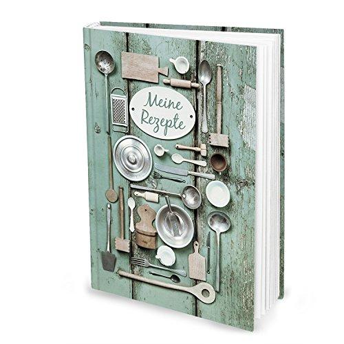 XXL receptenboek om zelf te schrijven, groen zilver, oude keuken-gebruiksZILIEN, DIN A4, HardCOVER, mijn recepten verzamelen liefdesrecepten, boek om te noteren, als geschenk keuken koken