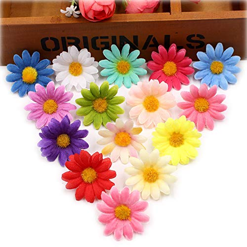 Fake Flower Heads Artificial Flower Small Silk Sunflower Handmake Head Wedding Decoration DIY Wreath Gift Scrapbooking Craft Party Festival Home Decor Fake Flower 100pcs (Colorful)