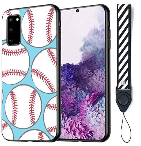 Baseball Samsung Galaxy A51 5G Case Tempered Glass Protective Phone Shockproof Scratch-Proof Black TPU Silicone Bumper Case for Samsung Galaxy A51 5G